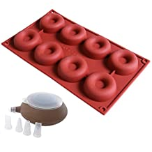 MAXGOODS 8-Cavity Silicone Donut Pan,WITH a Decorating Pen