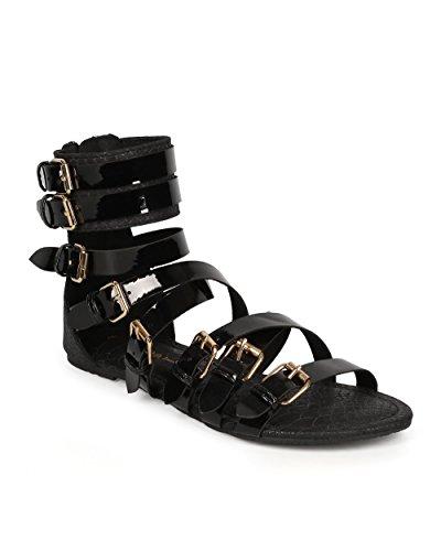 Zip Gladiator Patent Patent CG52 Sandal Black Snakeskin Women Wild Diva Buckle ORTq6HHw
