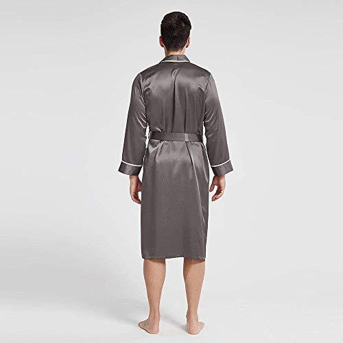 Comoda Stlie Uomo Vestaglia Costume 88 Unique Primavera Autunno Tinta Unita Accappatoio Bagno Loungewear Leggera Bobo Dunkelgrau Da p1qvAxHcHw