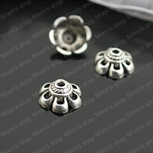 Laliva (26928) Fashion Jewelry Findings,Accessories,Vintage Charm,Alloy Antique Silver 104.5MM Flower Hat&Bead Caps 6 Petals 100PCS ()