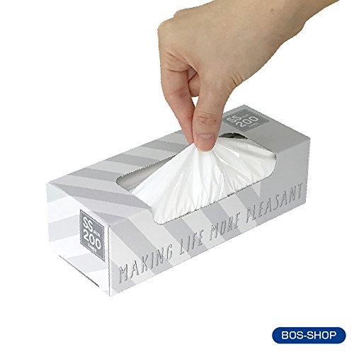 驚異の防臭袋 BOS (ボス) ★ストライプパッケージ/白色★SSサイズ200枚入 赤ちゃん用 おむつ ? ペット うんち ? 生ゴミ ? サニタリー などの処理に