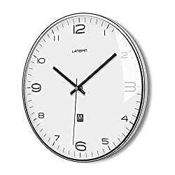LANGPIN Silent & Non Ticking Modern Quartz Wall Clock 14- Battery Operated Digital Quiet Sweep Office Decor Clocks,Chrome Coated Metal Frame Glass Cover 906-1