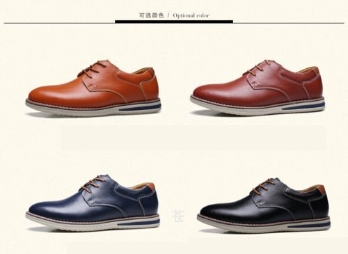 Business up Lace Genuine Dress Oxford Casual Style European Leather Flat Classic Men Party Blue Formal Shoe qx460f
