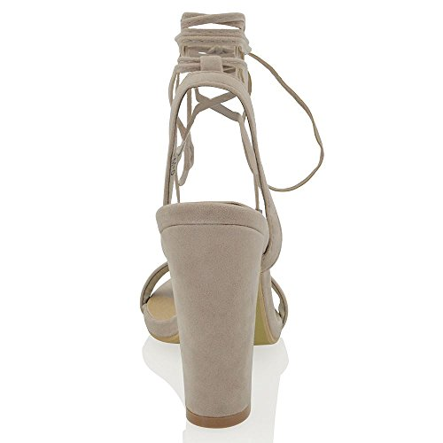 Essex Glam Gamuza Sintética Sandalias con tiras al tobillo Gris Gamuza Sintética