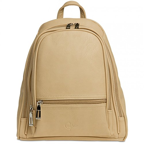 Backpack Elegant CASPAR Many City TS848 Rucksack Compartments Beige with Simple Womens WWrRCxn6