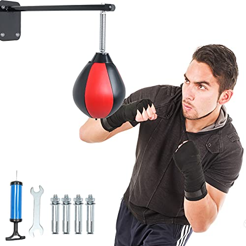 CALEPTONG Speed Bag for Boxing Punching Bag with Reinforced Spring Wall Mounted Strong Durable Boxing Ball for Men Women…