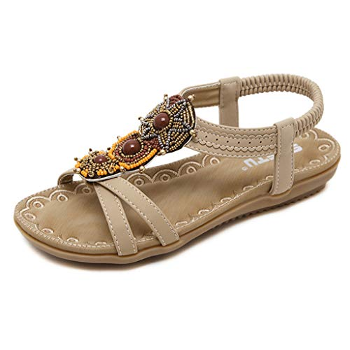 - Pandaie Womens ... Sandals Spring Summer Women Ladies Fashion String Bead Casual Flats Roma Shoes Sandals Beige