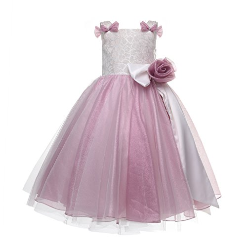 Amelia Girl's Sleeveless Pink Bow-Ties Tulle Dress (803) (8, Pink) (Care Package Delivery Nyc)