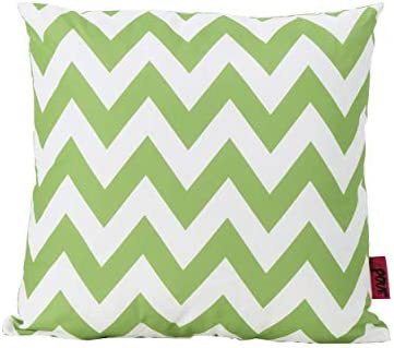 Christopher Knight Home Jerry Outdoor Green and White Chevron Water Resistant Square Throw Pillow