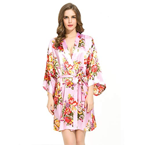 Floral Satin Bridal Robes - Silk Floral Robe - Dressing Gown - Bridesmaid Robes Bachelorette Gift (Light Pink)