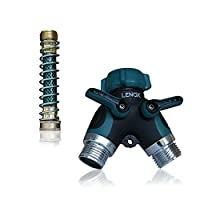 Hose Splitter Y Connector With Copper Coiled Spring Hose Extension Guard Y Valve Comfortable Rubberized Grip Water Hose 2 Ways Ball Valve Garden Water hose Easy Grip Heavy Duty