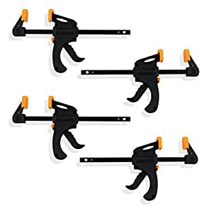 4-Piece Speed Bar Quick Clamp Pistol Grip Ratchet Action - Great for Glue Projects