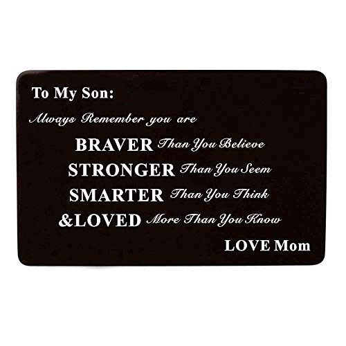 Laser Engraved Aluminum Metal Wallet Card Love Note Insert Card Gift for Son Birthday Gift from Mom Mother by Kisseason