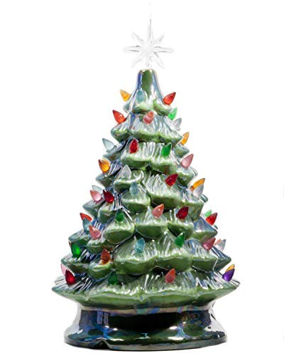 ReLive Christmas is Forever Lighted Tabletop Ceramic Tree, 14.5-Inch Pearlized Green Tree with Multicolored Lights