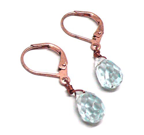 Lab Grown Aqua Quartz 10x6 Briolette Lever Back Earrings Copper