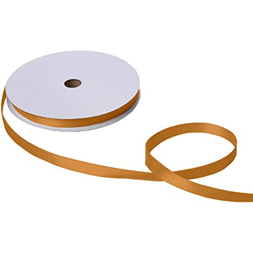 Jillson Roberts Bulk 5/8-Inch Double Faced Satin Ribbon Available in 21 Colors, Gold 100 Yard Spool (Gold Color Ribbon)