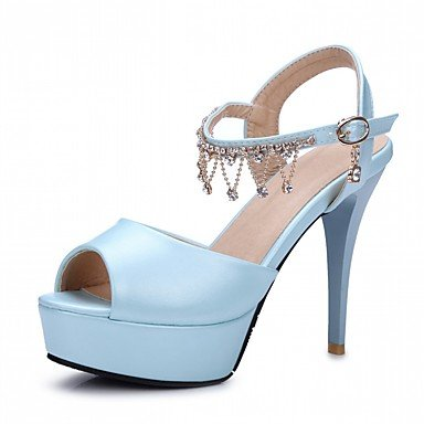 LvYuan Mujer Sandalias Semicuero PU Verano Otoño Paseo Hebilla Tacón Robusto Blanco Beige Morado Azul Rosa 10 - 12 cms Blue