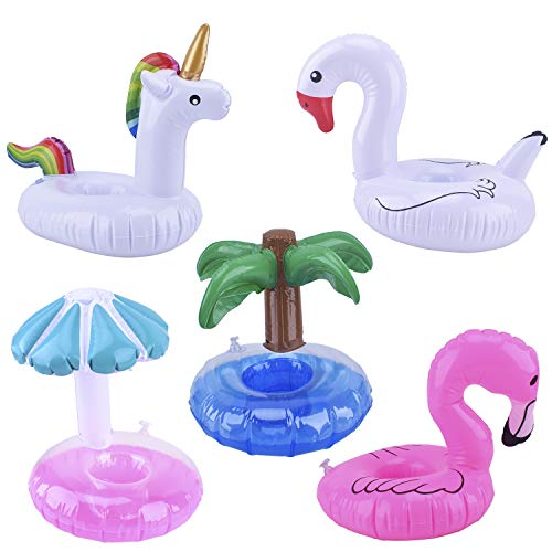 Blovec 5 Pack Inflatable Drink Holders Inflatable Cup Coasters Drink Floats Swimming Drink Holder Unicorn Flamingo Palm Tree Mushroom Swan for Pool Party