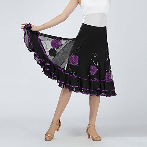Baoblaze Dance Skirts Sequins Swing Purple Floral Practice Ballroom Performance Long 4U4rF