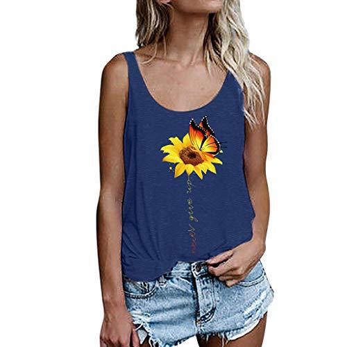 - Women's Crop Tops, Caopixx Women Summer Sunflower Printing Vest Sleeveless Loose Tank Top Blouse Blue