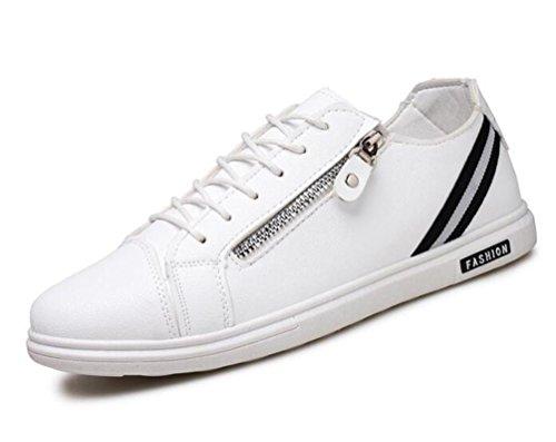 Zapatillas de deporte ocasionales de la lona de los zapatos ocasionales antideslizantes de la zapatilla de deporte de la cremallera de la cremallera de la cremallera de los zapatos ocasionales respira White