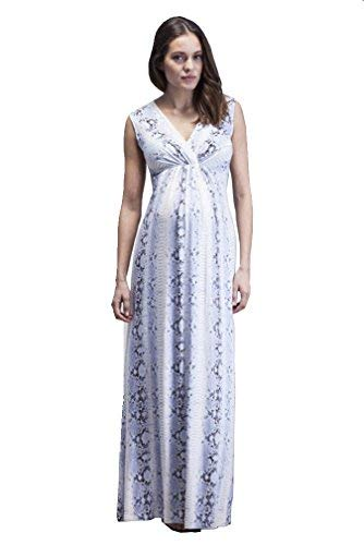 - Isabella Oliver Vienna Snake Print Maternity Maxi Dress - White/Purple - 0 (US Size 0-2)