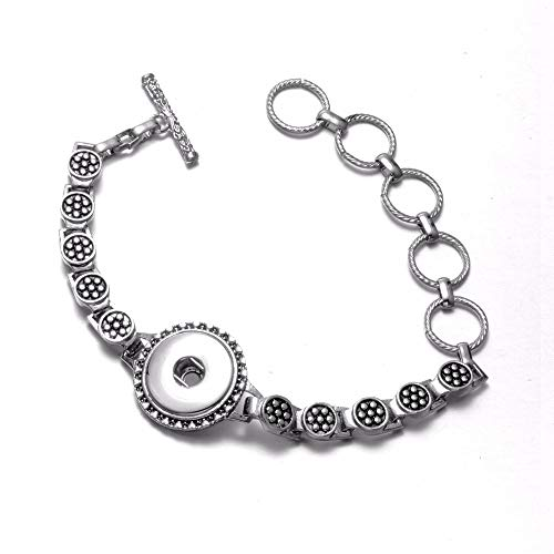 Royalbeier Vintage Bangle Charm Metal Snap Button Link Bracelet Crystal Flower Heart Filigree Bracelet for Girls … (SZ0460)