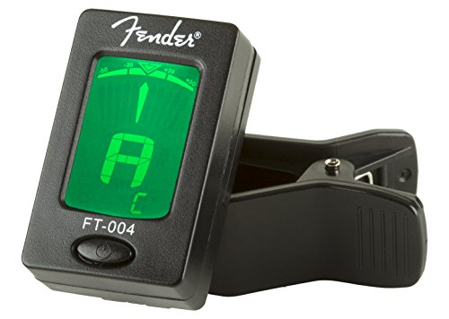 Fender Clip-On Tuner FT-004 for Guitar, Ukulele, Bass, Violin, Mandolin, and Banjo Bass Electric Guitar Tuner
