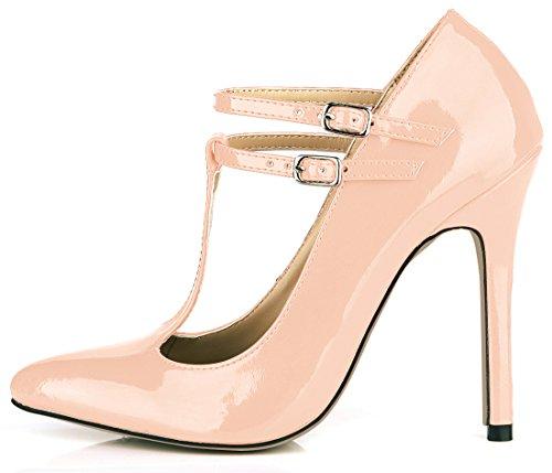 CHMILE CHAU Damenschuhe-Spitzen Pumps Stiletto-Dünne Fersen-Hoher Absatzschuhe-Sexy-Modisch-Abiball-Brautschuhe-Abendschuhe-T-Spange Pink-B