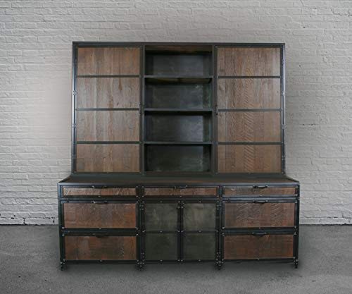 Industrial File Cabinet With Hutch. Reclaimed Wood Filing Cabinet, China  Cabinet. Rustic Bar