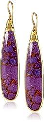 """Devon Leigh """"Nature's Wonders"""" Purple Turquoise in 24k Gold Foil On 14K Gold Fill Ear Wire Earrings"""