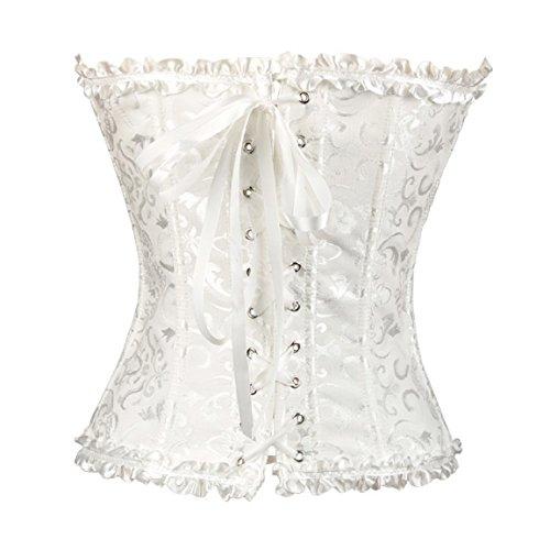 Amjimshop New Women Floral Pleated Trim Bustier Corset Dress Laced Lingerie Body Shaper (3XL, White)