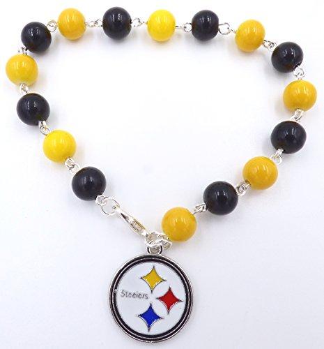 Pittsburgh Pro Football Handmade Charm Bracelet or Anklet - Sizes 6