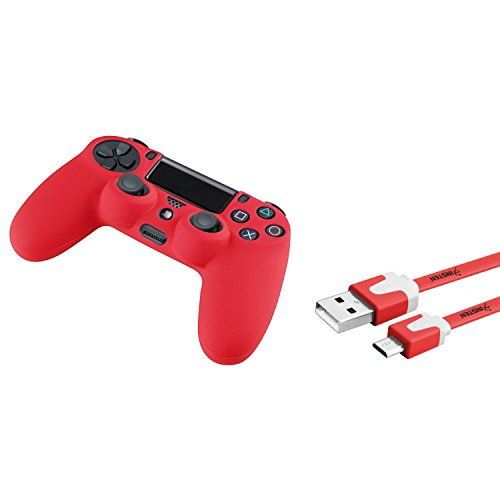 insten-red-silicone-skin-ps4-controller-case-with-free-3ft-red-micro-usb-flat-noodle-cable-compatibl