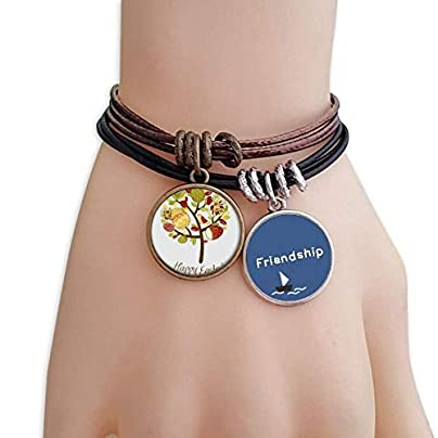 Happy Easter Religion Festival Egg Tree Friendship Bracelet Leather Rope Wristband Couple Set Estimated Price -