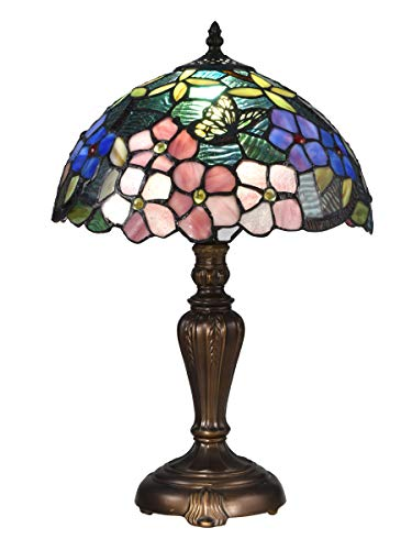 Dale Tiffany STT16081 Fox Peony Tiffany Table Lamp Antique Bronze
