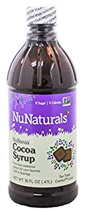 NuNaturals NuStevia Cocoa Syrup Rich Chocolate Syrup Taste In a Zero Calorie Sweetener 16 Fluid Ounce