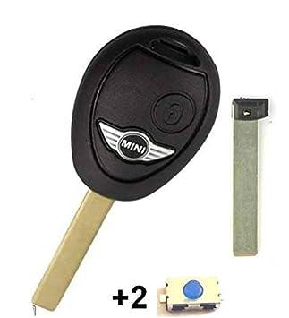 Carcasa para llave plip de coche, con 2 botones, para mando a distancia de Mini Cooper S, One D, Clubman, sin logotipo, 2 interruptores