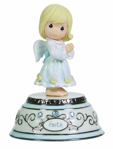 Precious Moments, Faith Angel, Porcelain/Resin, Music Box, 124109 (Box Music Bisque)