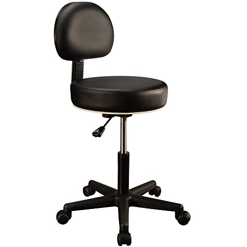 Master Massage Pneumatic Hydrolic Rolling Massage Clinical Spa Tattoo Office Swivel Stool with Backrest, Black