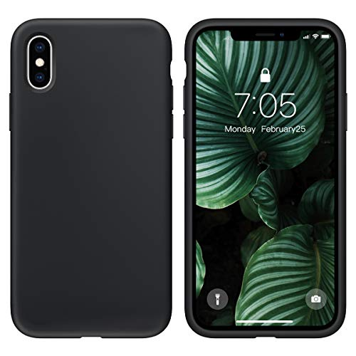 OUXUL Case for iPhone X/iPhone Xs Liquid Silicone Gel Rubber Phone Case,iPhone X/iPhone Xs 5.8 Inch Full Body Slim Soft Microfiber Lining Protective Case(Black) (Best Slim Phone Under 12000)