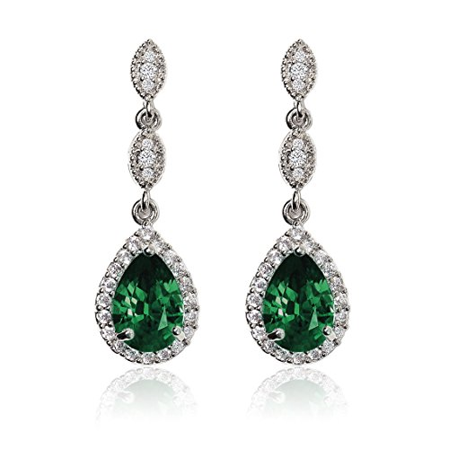 A+O Emerald Green Crystal Drop Earrings
