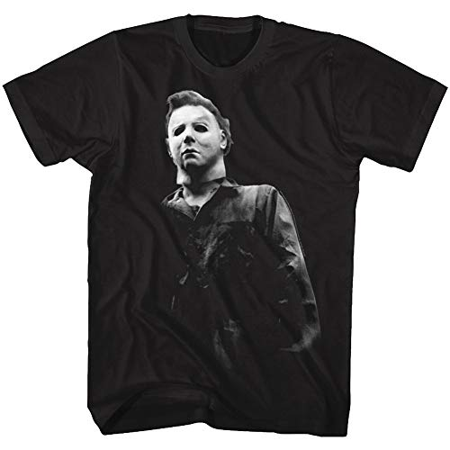 A&E Designs Halloween T-Shirt Black and White Michael Myers Black Tee, XL -
