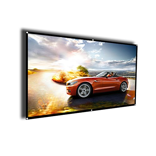 Projector Screen 100 Inch HD 16:9, Portable Foldable Indoor Outdoor Movie Screen,Support Double Sided Projection, Suitable for HDTV/Sports/Movies/Presentations