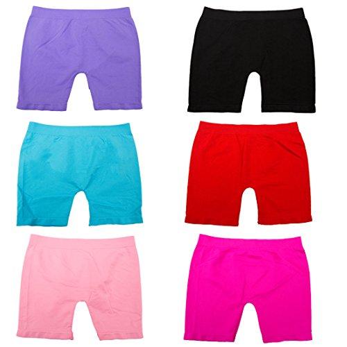 [Girls' 6 Pack Seamless Solid Color Short Leggings (M)] (Fur Shorts)