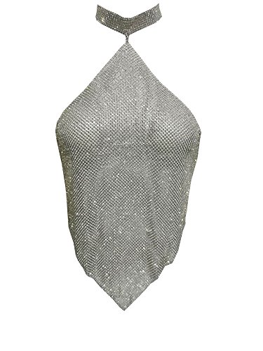 BEQUEEN Women's Sexy Halter Shinning Crystal Diamond Backless Crop Top Silver