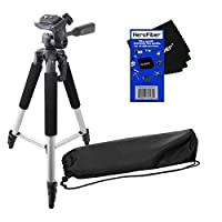 """57"""" Pro Series Lightweight Photo/Video Tripod & Carrying Case for Sony DCR-DVD105, DCR-DVD108, DCR-DVD201, DCR-DVD205, DCR-DVD308, DCR-DVD405, DCR-DVD610, & DCR-DVD650 Camcorders w/ HeroFiber Ultra Gentle Cleaning Cloth"""