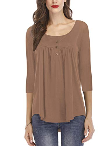 Women's 3/4 Sleeve Tops Casual Tshirt Tunic Button Pleat Blouse Brown XXL