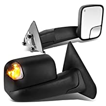 Ram 1500 / 2500 / 3500 Pair of Black Powered + Heated Smoked Signal + Foldable Side Towing Mirrors