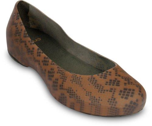 (Crocs Women's Thermalucent Snake Flat,Bronze/Espresso,10 M)
